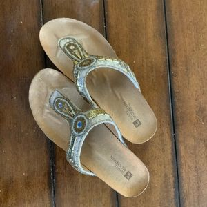 White Mountain beaded thong sandals